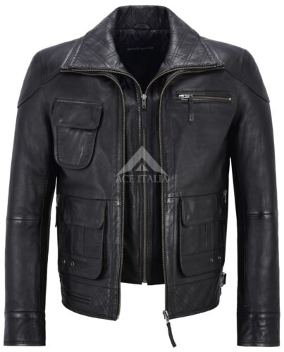 Hommes Motard Veste en Cuir Noir Double Couche Col et Zip en cuir véritable M-139