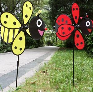 Image Is Loading New Bee Ladybug Garden Yard Outdoor Decor Windmills