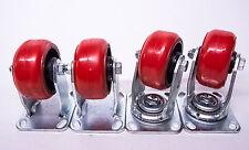 "4"" x 2"" Polyurethan on Cast Iron Wheel  Caster /Set of 4 ( 800 LBS/EA-CAPACITY)"