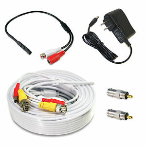 High-Sensitive-Microphone-Security-Camera-RCA-Audio-Mic-DC-Power-Cable-CCTV-50Ft