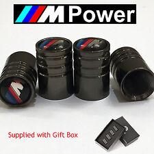 BMW M-Power Deluxe Black Chrome Wheel Valve Dust Caps. M3 M5 M-Sport M6 X3
