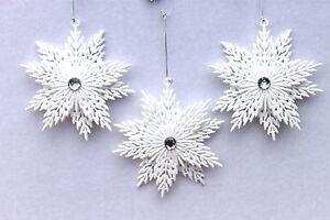 Gisela-Graham-Natale-Bianco-Irid-Glitter-Fiocco-di-neve-con-decorazione-gioiello-x-3