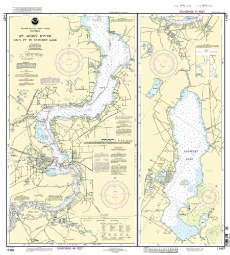 NOAA Chart St. Johns River Racy Point to Crescent Lake 20th Edition 11487