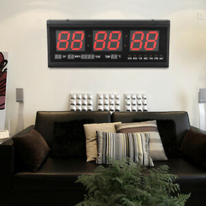 Details Sur Led Horloge Murale Electronique Reveil Date Moderne Decor Bureau Chambre Salon
