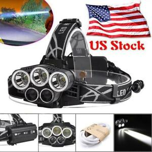 80000-LM-5X-T6-LED-USB-Rechargeable-Headlamp-Headlight-Flashlight-Torch-US-stock