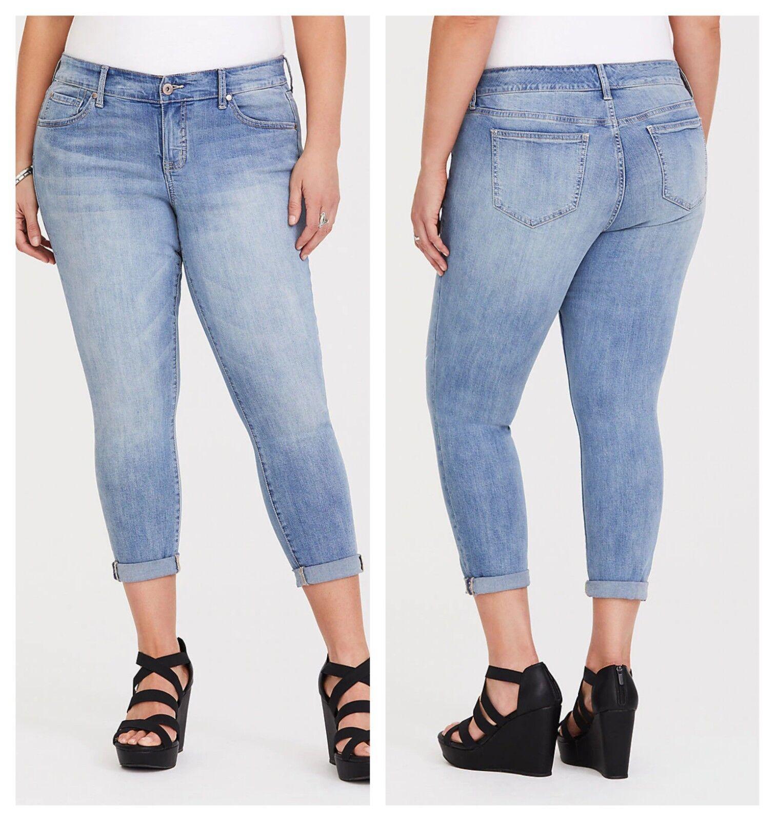 Torrid Crop Sophia Rapids Skinny Jeans Light Wash 2X 20