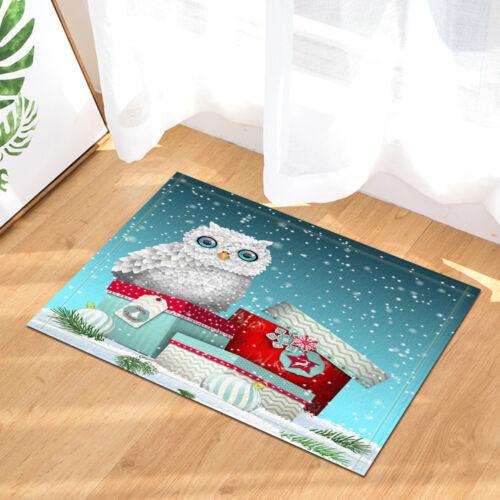 Christmas Owl Non-Slip Bath Mat Rug  Floor Outdoor Indoor Front Door Mat
