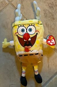 """Ty Beanie Babies 11"""" SleighRide REINDEER SPONGE BOB 2004 RETIRED New With Tags"""