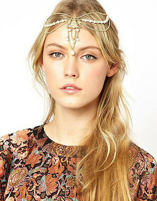 Boho Women Pearl Gold Wedding Headdress Headband Head Band Crown Chain Headpiece
