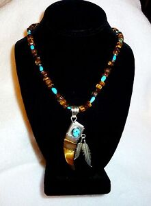 Authentic Tiger Eye & Turquoise Bear Claw & Feather Necklace NEW! USA!