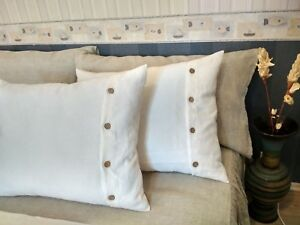 Linen-Pillowcase-Button-closure-King-Queen-Body-size-Blue-Brown-White