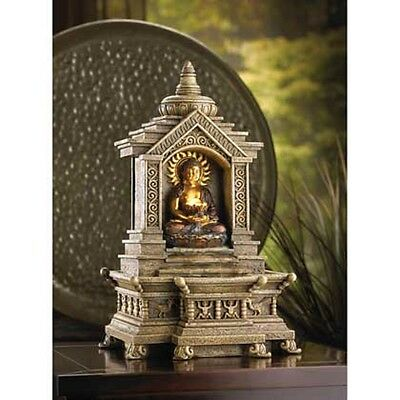Golden Thai hindu BUDDHA TEMPLE shrine statue serene meditation table Fountain