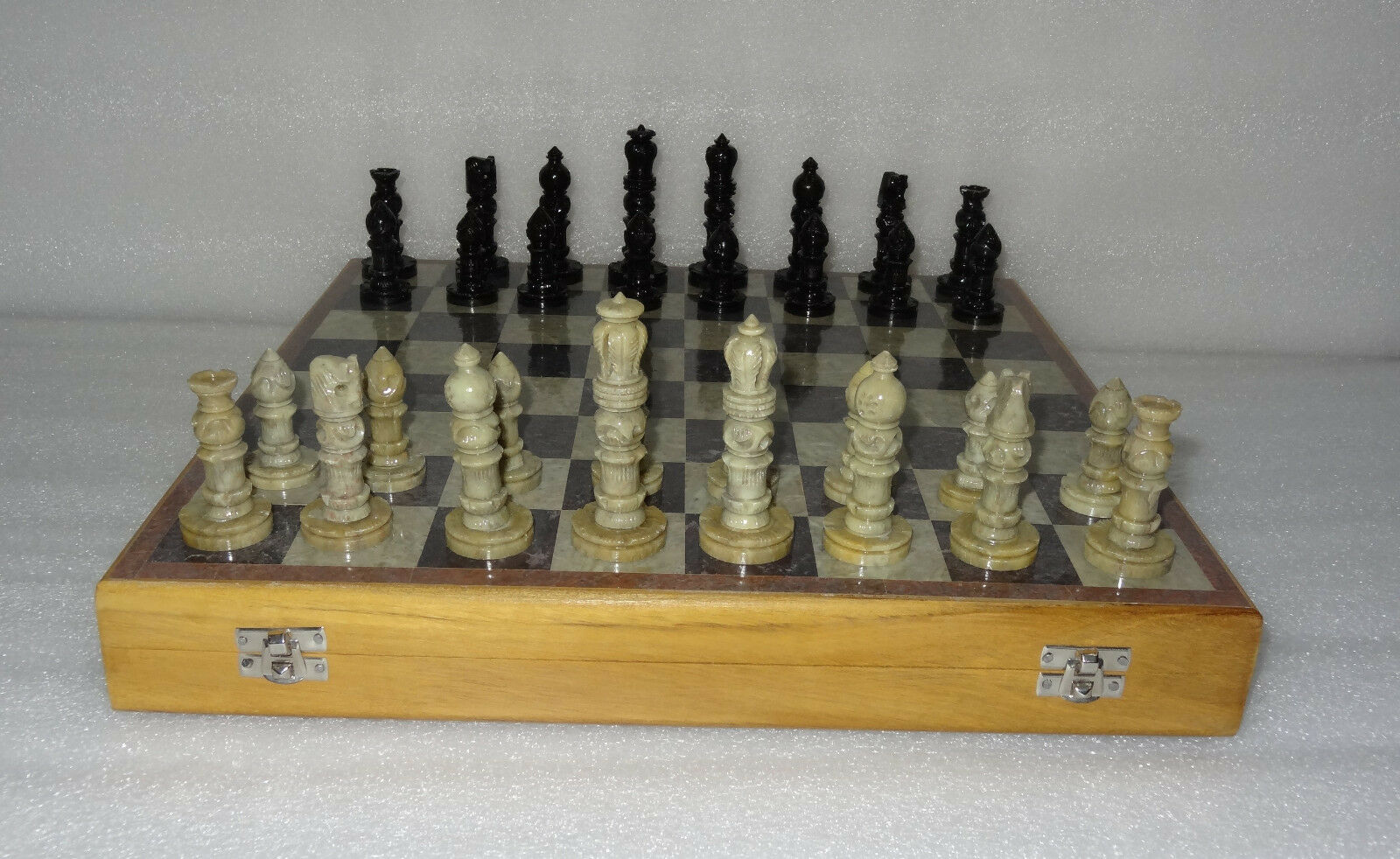 14  Marble Indian Wooden Wooden Wooden Chess Set Ebony stone pieces Play Board Decor Gifts 0094f0