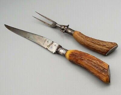 Bread Fork Antler Handle Large Fork Victorian Taxidermy Stunning Antique Collectible Silver Plate and Antler Handled Meat Fork Gothic
