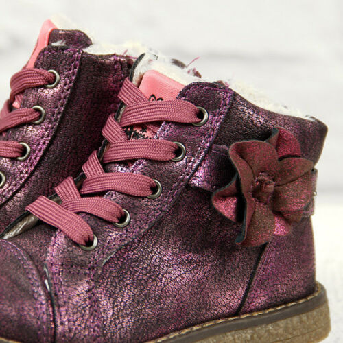 Girls Hi Top Ankle Autumn Winter Fur Lined Zip Shoes Trainers Size 5-8.5