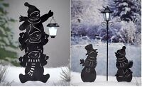 Solar Snowman Silhouette Lawn Yard Decor Outdoor Lighting 3 Stacked Or Couple