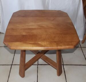 Details About Mid Century Light Solid Cherry End Table Side