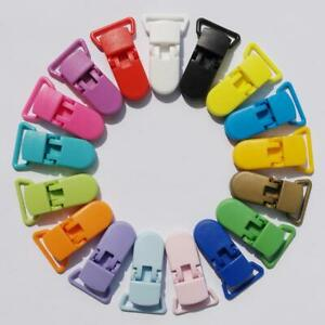 10pcs Colored Plastic Suspender Soother Pacifier Holder Dummy Clips Baby