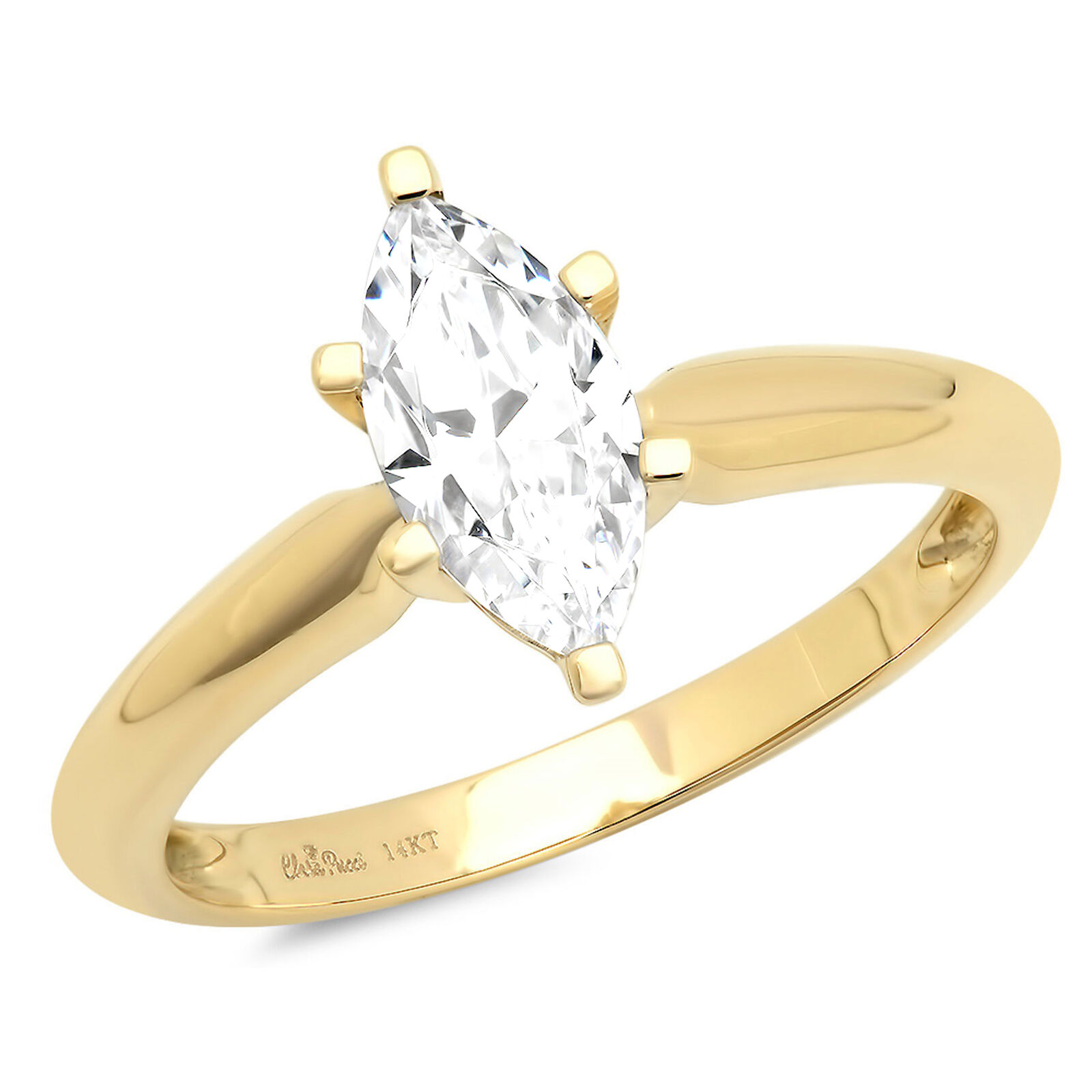 1.5ct Marquise Cut Classic Solitaire Engagement Promise Ring 14k Yellow gold