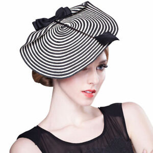 14b36bc90 Details about Womens Striped Bow Arrow Feather Straw Saucer Fascinator  Cocktail Wedding Hats