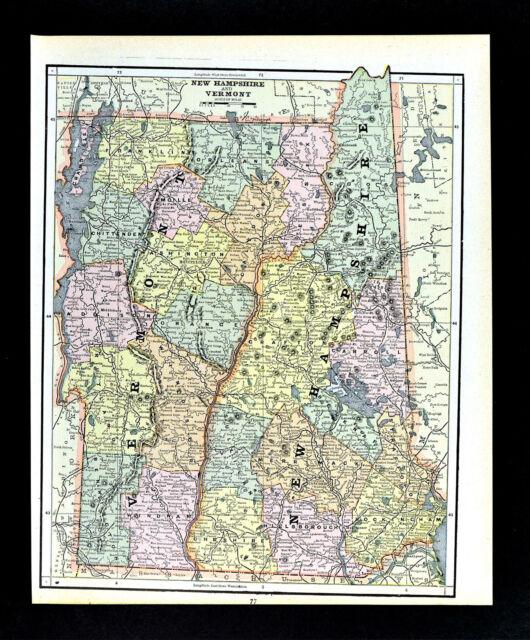 1887 Cram Map Vermont New Hampshire Montpelier Concord Mt Washington Burlington