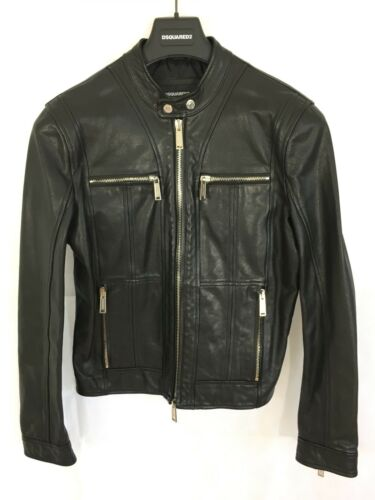 New Black 38 Rrp Zipped uk Biker Leather cuff Jacket 48 It Dsquared2 £1695 R7xfwC1