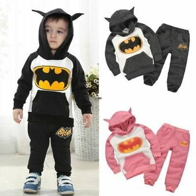 d398ff65d Kids Baby Boys Girls Hoodie+Pants Tops Trousers Sets Outfits Batman  Tracksuits
