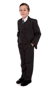 Boys-Value-Suit-Black-or-Grey-Formal-5-Pce-Party-Prom-Wedding-Funeral-1-15-Years