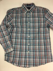 Saddlebred-Mens-M-Shirt-Blue-Red-Plaid-Button-Up-Easy-Care