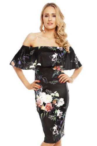 Damen Sommerkleid Kleid mit Blumen Muster Sommer Urlaub Freizetkleid