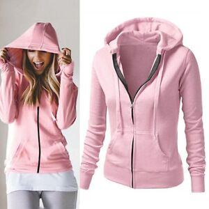 Women-Casual-Long-Sleeve-Zip-Neck-Hooded-Sweatshirt-Coat-Plain-Jacket-Outerwear