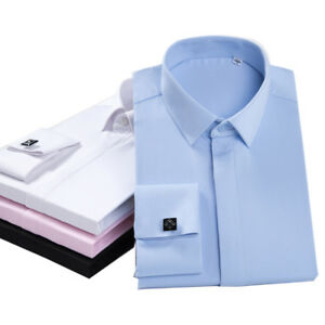 New-Men-039-s-Solid-Franch-Cuff-Shirt-Formal-Luxury-With-Cufflinks-Dress-Shirts-G405