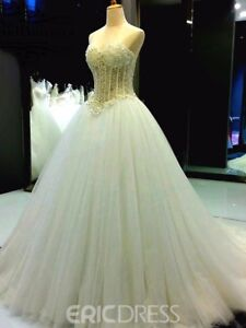 5efe94a45739 Image is loading Gorgeous-Pearl-Beaded-Wedding-Dresses-Sweetheart-Princess- Bridal-