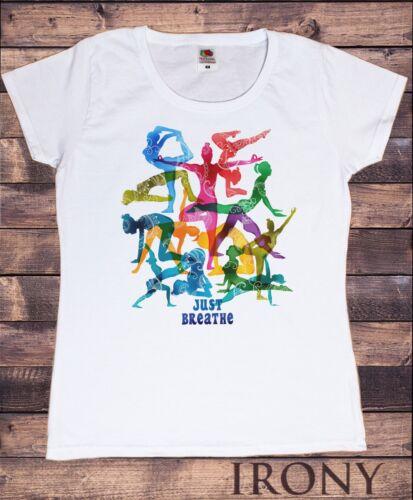 Women/'s T-Shirt /'Just Breathe/' Yoga Meditation Poses Yogaholic Enthusiast TS1094