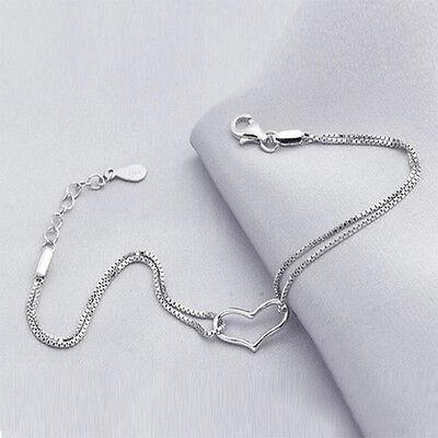 New 925 Silver Plated Heart Love Bracelet Silver Chain Women Jewelry Gift 1PC
