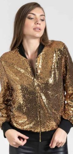Biker Glitter Sequin Bomber Jacket Coat Top Festival Clubbing Party Club women