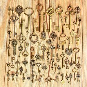 Set-of-70-Antique-Vintage-Old-LookBronze-Skeleton-Keys-Fancy-Heart-Bow-Pendant