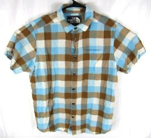 The-North-Face-Button-Up-Linen-Shirt-Mens-Large-Plaid-Checks-Short-Sleeve