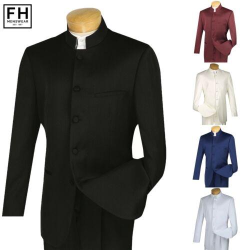 VINCI Men/'s Banded Collar 5 Button Classic Fit Tuxedo Suit NEW