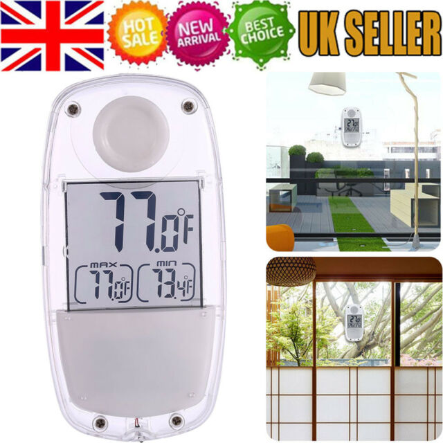 Digital Solar Ed Window Thermometer Suction Cup Indoor Outdoor Garden Lcd Ebay