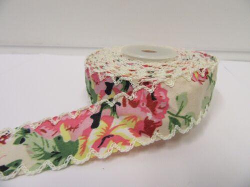 2 mètres ou 10 Mètre Rouleau 25 mm Vintage Festonné Edge fleur ruban coton UK
