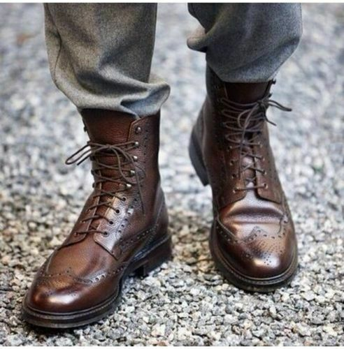 Men Handmade Boots Wingtip Brown Ankle Leather Lace Up Formal Wear Casual shoes