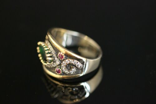 925 Sterling Silver 925 Aquamarine Emerald Turkish Handmade Ring 6-12