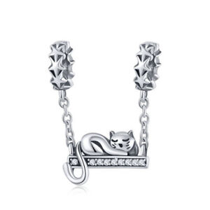 925-Sterling-Silver-Lovely-Cat-On-A-Swing-Charm-Pendant-Bead-Fits-Bracelet-Chain