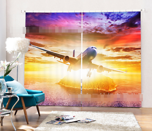 Avión 3D 8 Cortinas de impresión de cortina de foto Blockout Tela Cortinas Ventana CA