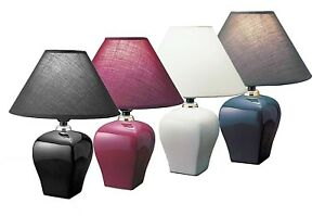 Hongville Room Decor Ceramic Table Lamp w/ Color Matched Shade Living Room Light
