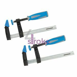 2Pce-f-clamp-set-150-x-50mm-strong-soft-grip-hobby-menuiserie-charpenterie-bricolage