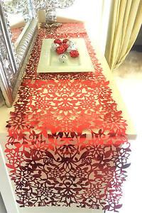 Image Is Loading NEW Foil Table Runner RED Xmas Festive Celebration
