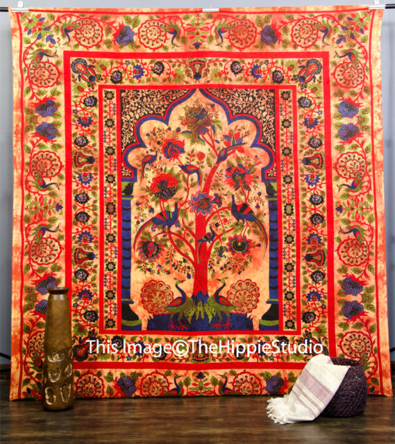 Tree Of Life Indian Tapestry Wall Hanging Throw Vintage Dorm Bedspread Decor Art