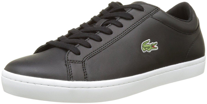 Zapatos De Cuero Lacoste Straightset Negro blancoo Zapatillas para hombre